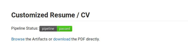Customized Resume CV Pipeline Status